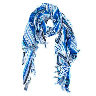 Bespoke abstract-print Fringed scarf
