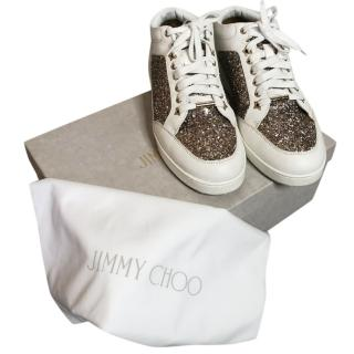 Jimmy Choo Glitter Panel Miami leather trainers