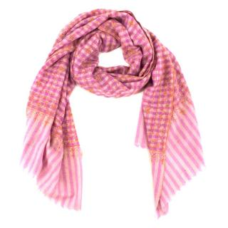 Bespoke Pink Plaid Embroidered Scarf