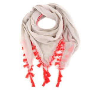 Chan Luu pom-pom trimmed cream scarf