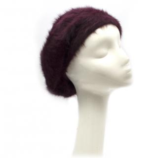 Paul Smith burgundy angora-blend beret
