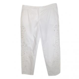Dolce & Gabbana White Lace Trousers