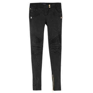 Balmain black leather biker trousers