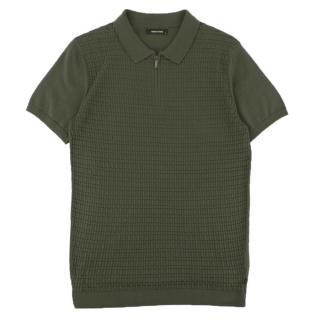 Remus Uomo khaki cotton structured knit polo shirt