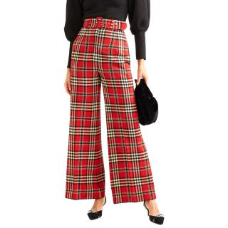 Emilia Wickstead 'Jana' Wool-Blend Tartan Wide-Leg Pants