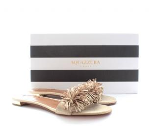 Aquazzura 'Wild Thing' Fringed Metallic Suede Slides