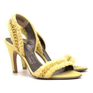 Salvatore Ferragamo yellow fringed-satin sandals