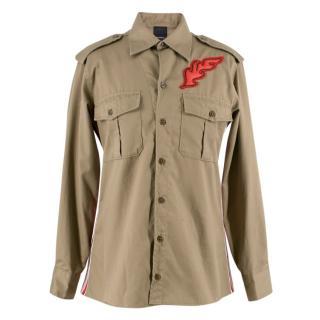 Pinko khaki fringed cotton shirt