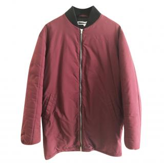 McQ by Alexander McQueen Burgundy/Black Elongated Hybrid Quilted Bomber Jacket/Coat