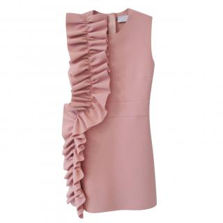 MSGM Asymetrical Ruffle Dress in Dusky Pink
