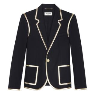 Saint Laurent Gold Leather Trimmed Black Blazer