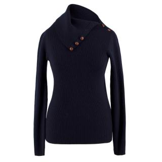 Ralph Lauren leather-panel ribbed-wool sweater