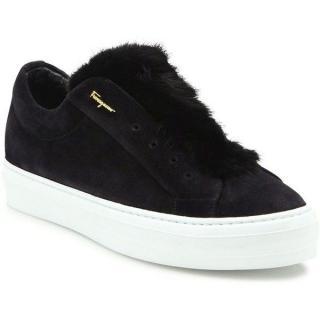 Salvatore Ferragamo Foxy Suede & Mink Fur Sneakers