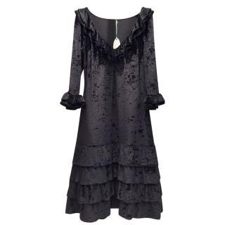 French Couture Black Panne Velvet Dress