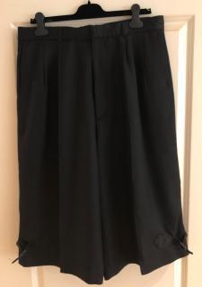 Alexander McQueen Black Double Pleated Silk Loose Fit Bermuda Shorts