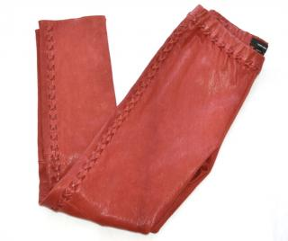 Isabel Marant red lace-up skinny leather trousers
