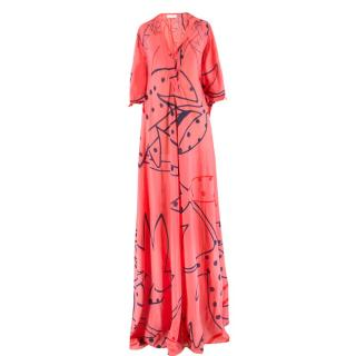 Ossie Clark cotton and silk-blend maxi dress