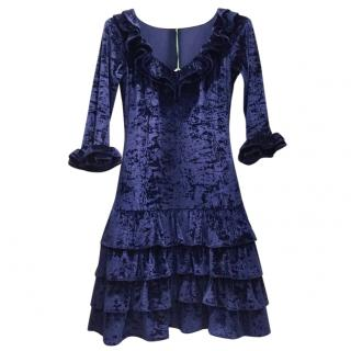 French Couture Navy Blue Panne Velvet Dress