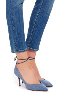 Aquazzura 'Allure 75' Denim Pumps with Ankle Tie