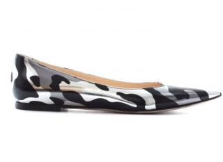 Jimmy Choo 'Attila' Metallic Camouflage-Print Leather Flats