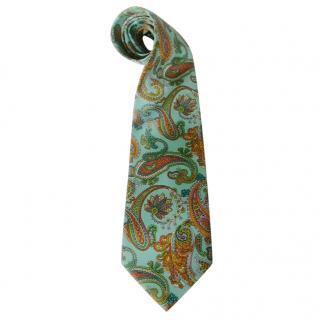 Balenciaga Aqua Paisley Silk Neck Tie