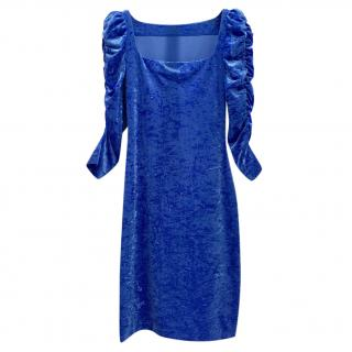 French Couture Electric Blue Panne Velvet Dress