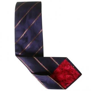 Paul Smith Navy Blue Striped Roses Lining Silk Neck Tie