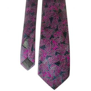 Fendi Iridescent Green and Fushia Pink Abstract Motif Silk Neck Tie