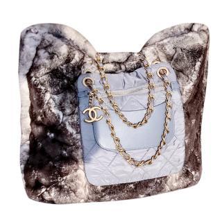 Chanel fur and nylon tote