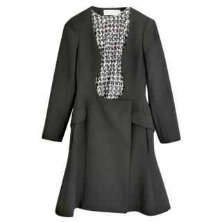 Christian Dior Black Wool Open Bodice Bar Coat Dress