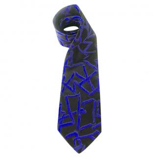 Claude Montana BlackBlue and Grey Abstract Motif Silk Tie