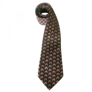 Hermes Indian Headdress Navy Silk Neck Tie