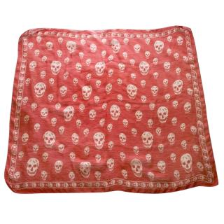 Alexander McQueen Red Printed Scarf