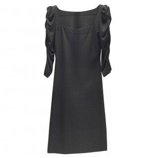 French Couture Black Jersey & Velvet Dot Square Neck Dress
