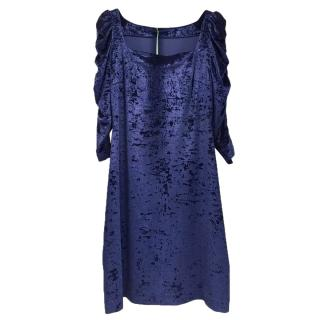 French Couture Navy Blue Panne Velvet Square Neck Dress