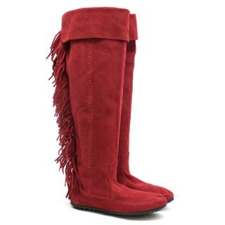 Minnetonka fringed red suede mocassin boots