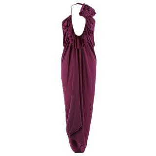 Lanvin purple draped halterneck dress