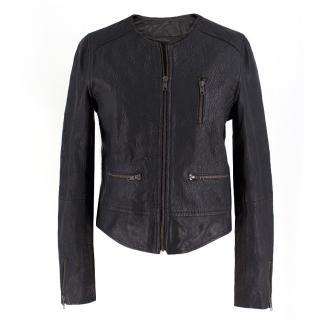 Bespoke collarless leather jacket
