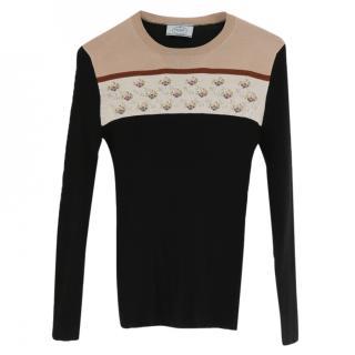 Prada Pre-Fall '14 Floral Band Fine Wool & Silk Skinny Rib Sweater