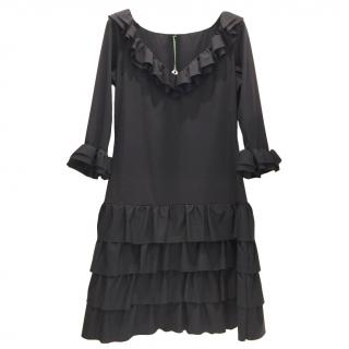 Bespoke French Couture Black Lycra Frill Dress