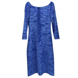 French Couture Electric Blue Panne Velvet V Back Dress