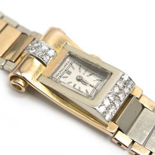 Patek Philippe 1940's Art Deco Solid Gold /Diamond Scroll Watch