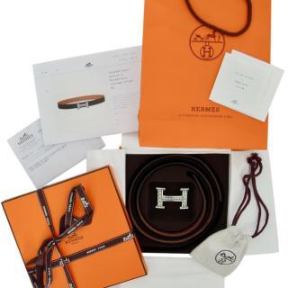 Hermes Silver Touareg Belt Buckle & Reversible Leather Belt- Full Set