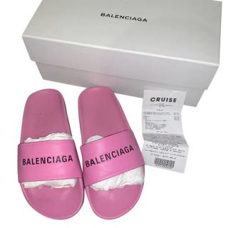 Balenciaga Pink Leather Logo Slides