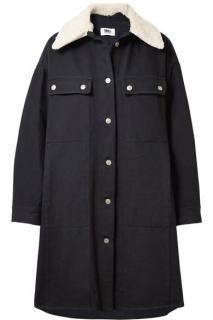 MM6 Maison Margiela Oversized Faux Shearling-Trimmed Cotton Blend Coat