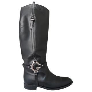 Leather Gucci Boots with Metal G Clasp