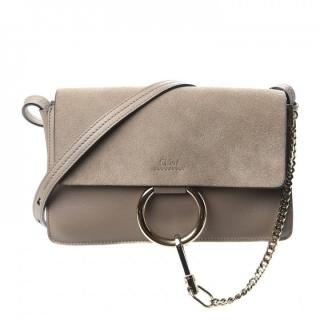 Chloe Small Motty Grey Faye Bag in Leather and Suede