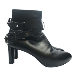 Celine Black Leather Harness Boots
