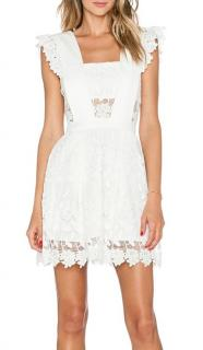 Self Portrait White Lace A-Line Frilled Short Dress with Pockets
