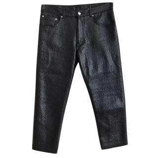 MM6 Maison Margiela Black Glossed Faux Patent Textured Trousers
